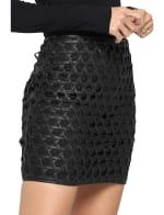 Vegan Leather Weave Skirt - 3