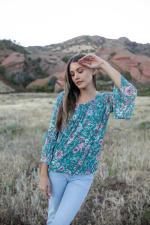 Roz & Ali Flare Sleeve Floral Bubble Hem Blouse - 4