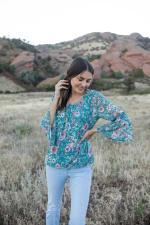 Roz & Ali Flare Sleeve Floral Bubble Hem Blouse - 5
