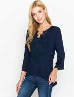 Westport V-Neck Crochet Lace Up Knit Top - 6