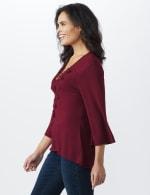 Westport V-Neck Crochet Lace Up Knit Top - 5