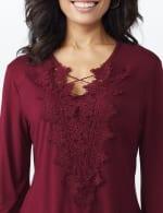 Westport V-Neck Crochet Lace Up Knit Top - 3