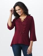 Westport V-Neck Crochet Lace Up Knit Top - 4