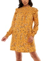 Madison and Hudson Smocked With Ruffle Neck Top Dress - 1