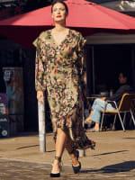 Gigi Parker Long Sleeves Wrap Dress With Ruffles - 11
