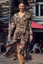 Gigi Parker Long Sleeves Wrap Dress With Ruffles - 1