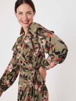 Gigi Parker Long Sleeves Wrap Dress With Ruffles - 4