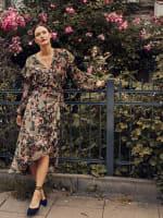 Gigi Parker Long Sleeves Wrap Dress With Ruffles - 2