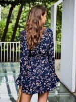 Sukiso Deep V-Neck Long Bell Sleeve Georgette Dress - 2