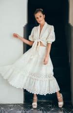 Sukiso Eden White Eyelet Tiered Maxi Skirt - 1
