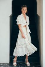 Sukiso Eden White Eyelet Tiered Maxi Skirt - 5