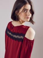 Wonder Blossom Cold Shoulder Lace Trim Top - 3