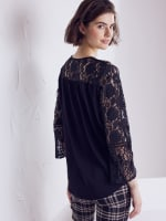 Wonder Blossom Night Out Lace Mix Wrap Front Night Out Top - 3