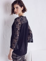 Wonder Blossom Night Out Lace Mix Wrap Front Night Out Top - 2