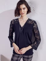 Wonder Blossom Night Out Lace Mix Wrap Front Night Out Top - 1