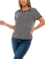 Adrienne Vittadini Short Sleeve With Three Keyholes Top - 13