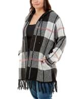Adrienne Vittadini Fringe Detail With Hood Cardigan - Plus - 3