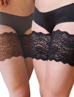 Bandelettes Set of 2 Elastic Anti-Chafing Lace Thigh Bands - Black/Brown, Small - 2