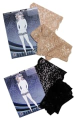 Bandelettes Set Of 2 Elastic Anti-Chafing Lace Thigh Bands - Black/Beige - 2