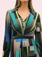 Amelia New York Long Sleeve Blues Bar Collared Shirt Dress - 3