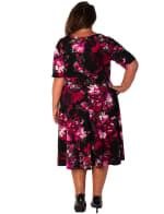 Floral Scuba V-Neck Dress - Plus - 2