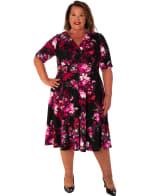 Floral Scuba V-Neck Dress - Plus - 1