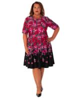Floral Scuba Fit & Flare Dress - Plus - 1