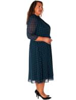 Printed Mock Neck Dress with Tie - Plus - 3