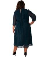 Printed Mock Neck Dress with Tie - Plus - 2