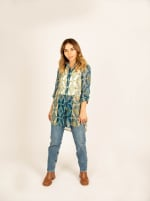 Mix Media Button Front Tunic Blouse - 4