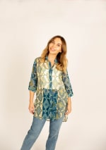 Mix Media Button Front Tunic Blouse - 5