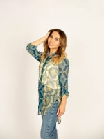 Mix Media Button Front Tunic Blouse - 7