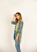 Mix Media Button Front Tunic Blouse - 6