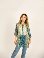 Mix Media Button Front Tunic Blouse - 1