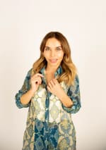 Mix Media Button Front Tunic Blouse - 3