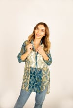Mix Media Button Front Tunic Blouse - 8