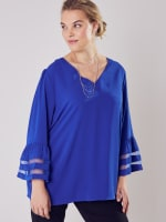 Wonder Blossom Top With Mesh Insert At Sleeve - 6