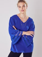 Wonder Blossom Top With Mesh Insert At Sleeve - 5