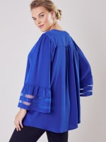 Wonder Blossom Top With Mesh Insert At Sleeve - 2
