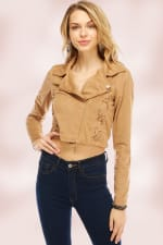 Suede Lace Up Detailed Moto Jacket - 1