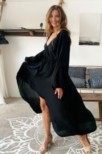 Linda V-Neck Midi Dress - Back