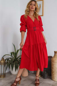 Peony V-Neck Midi Dress - Plus - Back