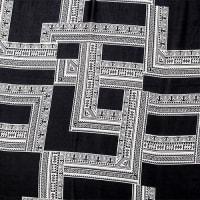 Black & White Fringe Trim Poncho - Back