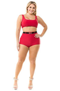 Cacelin Ultra High Waist Two-Piece Bikini Swimsuit - Plus - Back