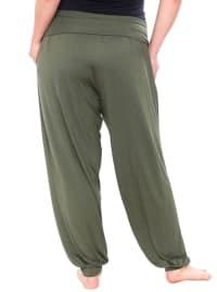 Banded Waist & Legs Lightweight Harem Pants - Plus - Back