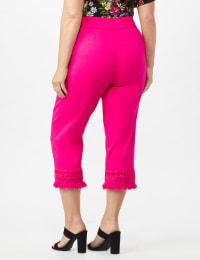 Pull on Crop Pants with Novelty Fringe Hem - Back