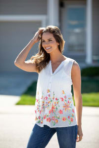 Sleeveless Floral Embroidered Pintuck Blouse - Misses - Back
