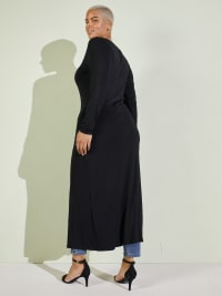 Front Slit Long Sleeve Shirt With Pockets - Plus - Back