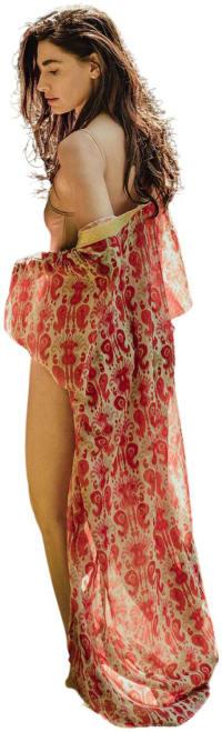 SukiSo Women's Pink Ikat Goddess Kimono Dress - O/S - Back