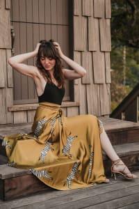 Sukiso Women's Multicoloured Zebra Satin Maxi Wrap Skirt - Back